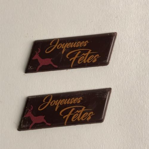 2 Plaquettes Joyeuses Fêtes Renne - Chocolat Noir