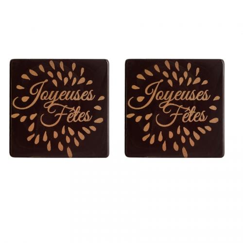 2 Carrés Joyeuses Fêtes - Chocolat Noir