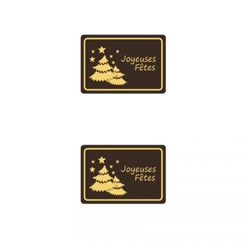 2 Plaquettes Joyeux Fêtes Sapins Or - Chocolat Noir