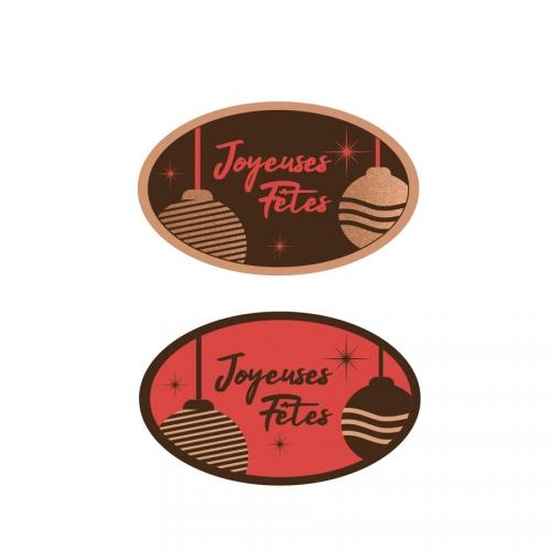 2 Plaquettes Ovales Joyeuses Fêtes Rouge - Chocolat Noir
