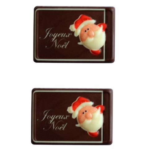 2 Plaquettes Joyeux Noël Père Noël - Chocolat Noir