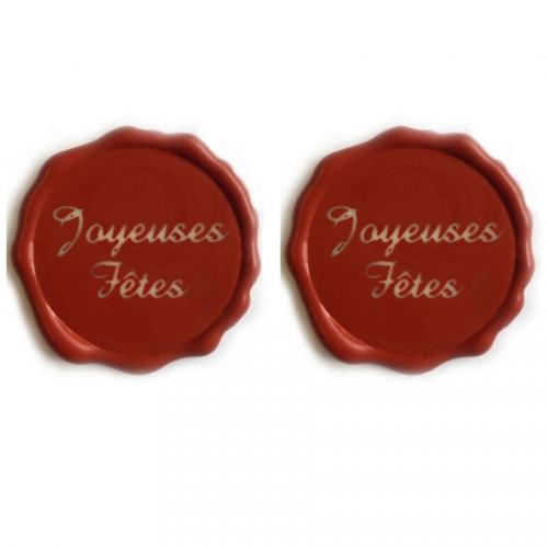 2 Décors Joyeuses Fêtes Rouge - Chocolat Blanc