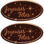 2 Plaquettes Ovales Joyeuses Fête Or - Chocolat Noir