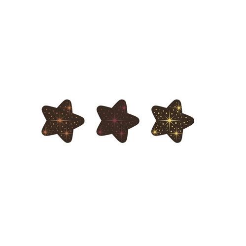 3 Petites Etoiles Or/Rouge Métal/Bronze - Chocolat Noir