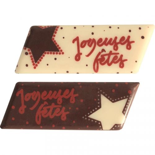 2 Plaquettes Joyeuses Fête Etoile  - Chocolat Blanc