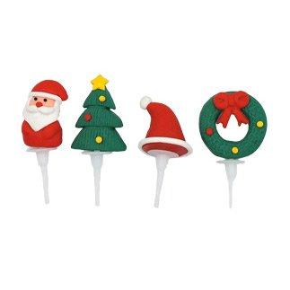 4 Pics Décos Noël (3,5 cm) - Plastique