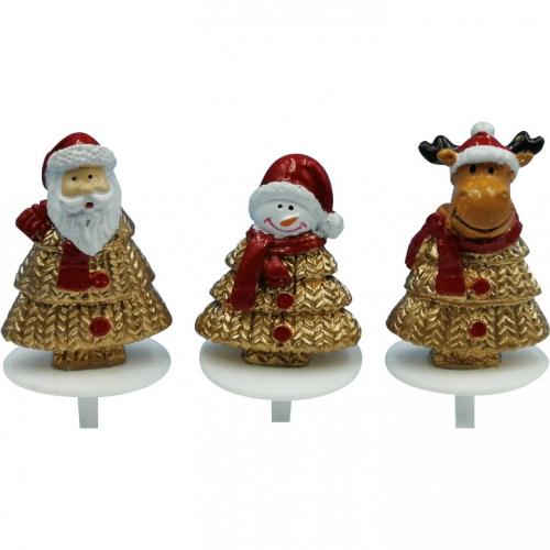 3 Pics Sapins Bonhomme de Neige/ Père Noël/ Renne Or/Rouge (3,5 cm )- Polyrésine