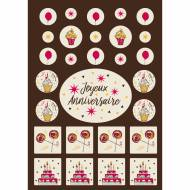 1 Kit Joyeux Anniversaire Rose - Chocolat Blanc