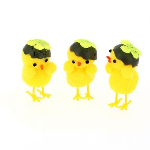 3 Petits Poussins Décoratifs Coquille ( 3,5 cm)