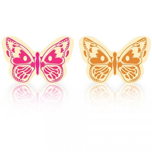 2 Papillons Rose/Orange - Chocolat Blanc