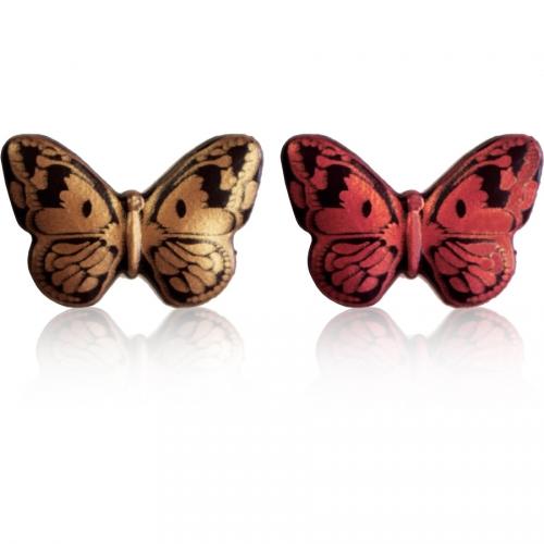 2 Papillons Cuivre/Rouge - Chocolat Noir