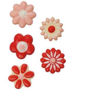 5 Petites Fleurs Rose/Rouge - Chocolat Blanc