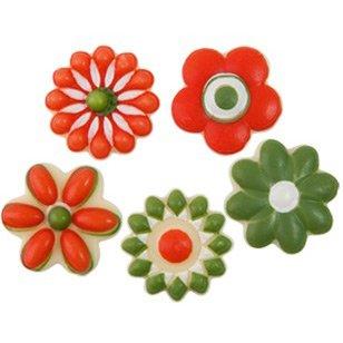 5 Petites Fleurs Vert/Rouge - Chocolat Blanc