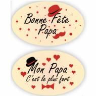 2 Plaquettes Ovales Bonne Fête Papa - Chocolat Blanc