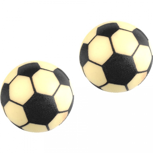 2 Ballons Football 3D (Ø 3 cm) - Chocolat Blanc