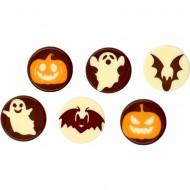 6 Mini Disques Halloween - Chocolat Blanc