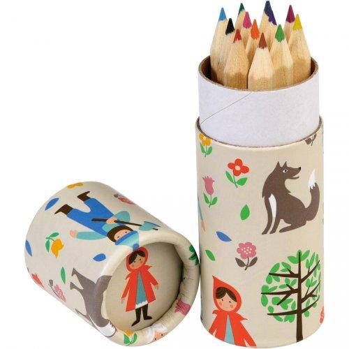 12 Crayons de Couleurs Petit Chaperon Rouge (8,5 cm)