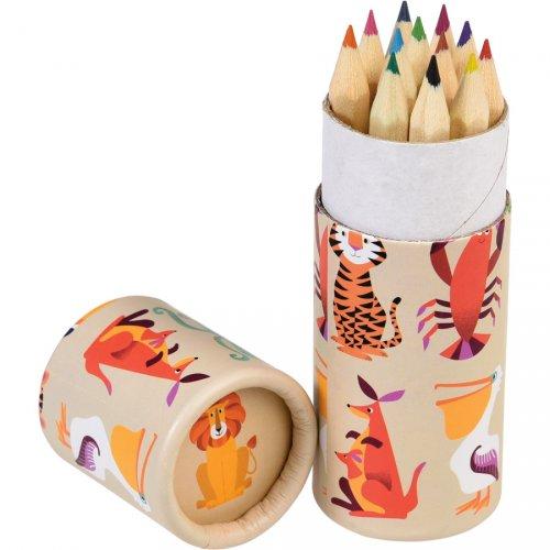 12 Crayons de Couleurs Animaux Colorama (8,5 cm)
