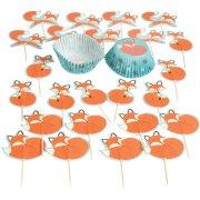Kit 24 Caissettes et Déco Cupcakes Renard Rusty