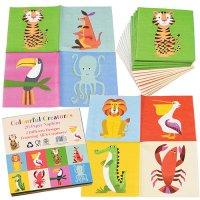 Contient : 1 x 20 Petites Serviettes Animaux Colorama