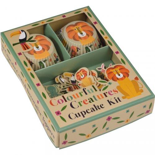 Kit 24 Caissettes et Déco à Cupcakes Animaux Colorama