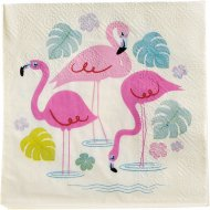 20 Petites Serviettes Flamant Rose Party