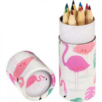 12 crayons de Couleur Flamant Rose (8,5 cm)