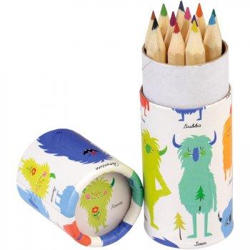 Set de 12 crayons de Couleur Monstres Rigolos
