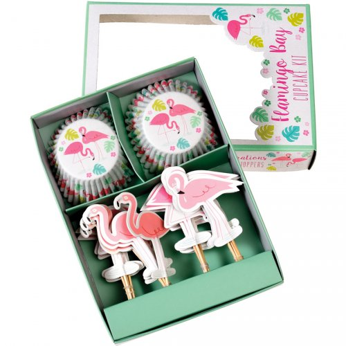 24 Caissettes et Déco Cupcakes Flamant Rose Party