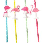 4 Pailles Papier Flamant Rose Party