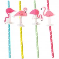 4 Pailles Flamant Rose Party