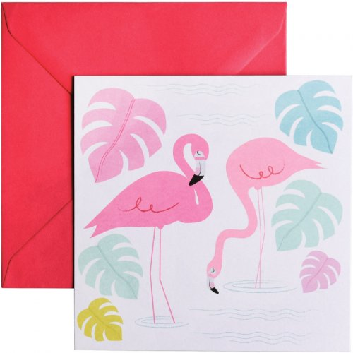 Carte de Voeux Flamant Rose Party