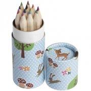 12 Crayons de Couleur Faon et ses amis (8,5 cm)