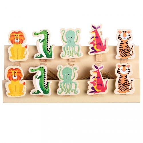10 Mini Pinces Déco Animaux Colorama