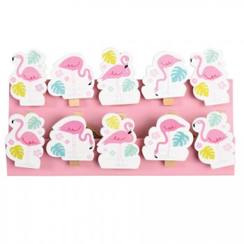 10 Mini Pinces Déco Flamant Rose