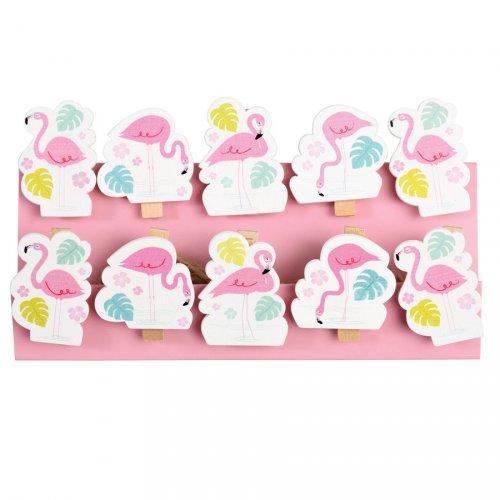 10 Mini Pinces Déco Flamant Rose