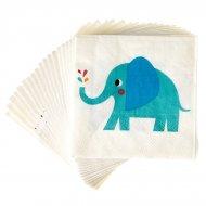 20 Petites Serviettes Elvis l'Eléphant