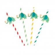 4 Pailles Papier Elvis l'Eléphant