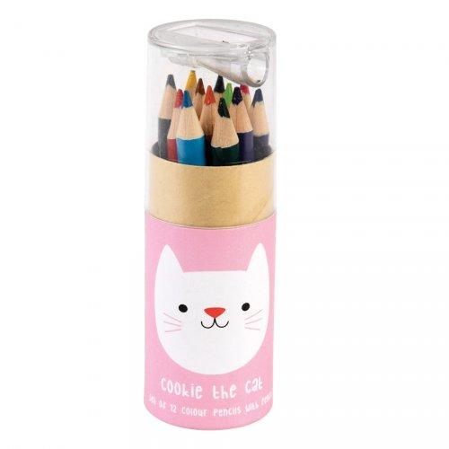 12 Crayons de Couleurs + Taille Crayon Cookie Le Chat