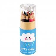 12 Crayons de Couleurs + Taille Crayon Petit Nuage