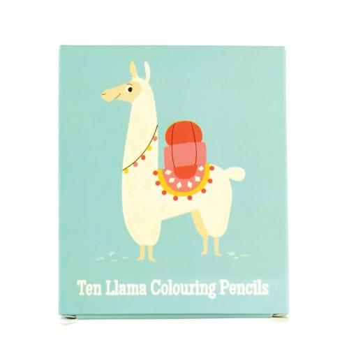 10 Crayons de Couleur - Lama (8,5 cm)
