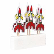 6 Mini Bougies Fusée (7 cm)