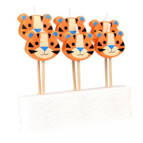 6 Bougies Ziggy Le Tigre (3,5 cm)