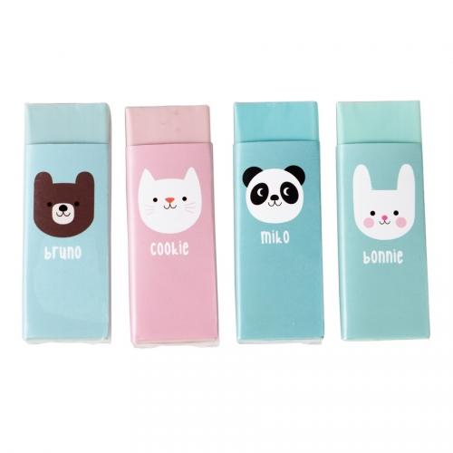 4 Gommes Miko Le Panda et ses Amis (6 cm)