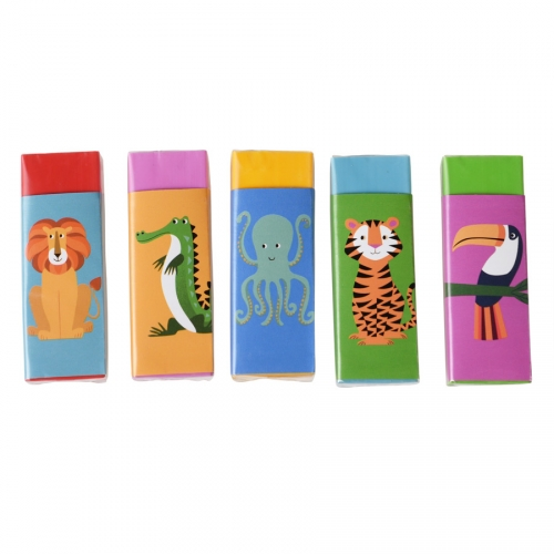5 Gommes Animaux Colorama (6 cm)