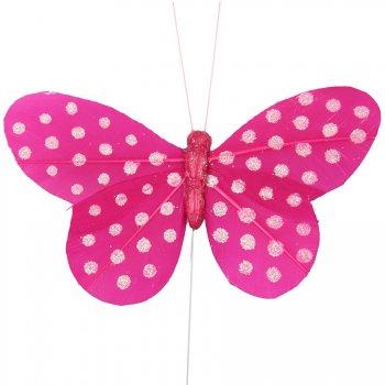 6 Papillons pois fuchsia sur tige