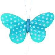 6 Papillons pois Turquoise sur tige
