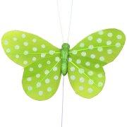 6 Papillons pois Vert sur tige
