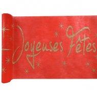 Chemin de Table Joyeuses Fêtes Rouge et Or