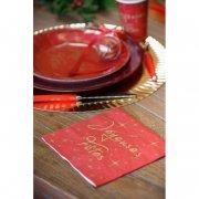 20 Serviettes Joyeuses Fêtes Rouge et Or